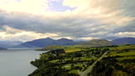 Aerial view of Wakatipu lake at sunset, Queenstown, New Zealand. video