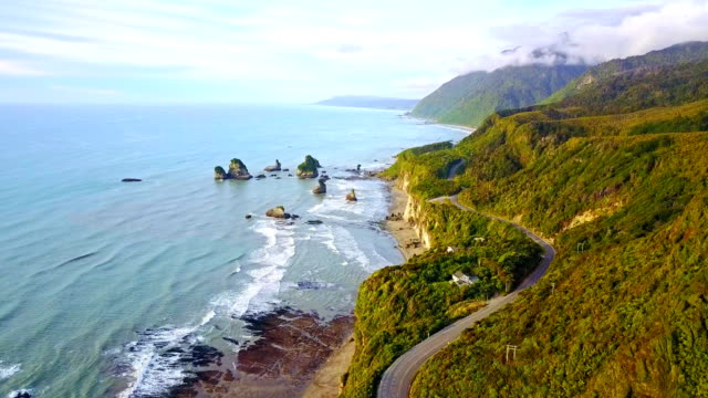 Aerial view of west coast, south island, New Zealand. video