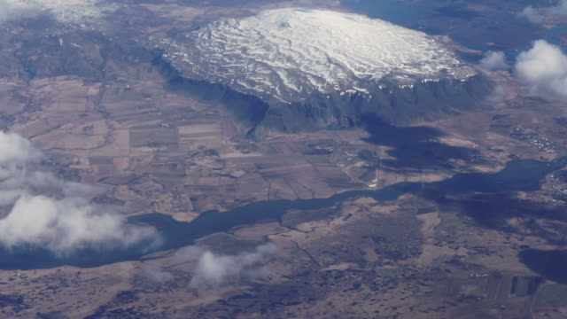 Aerial view of West Europe landscape. Snow mountain and river over land video