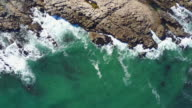 Aerial view of where the land meets the sea video