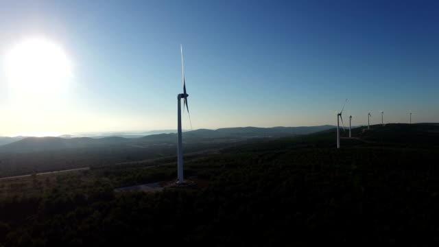 Aerial view of wind power generators video