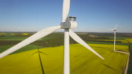 Aerial view of wind turbine video