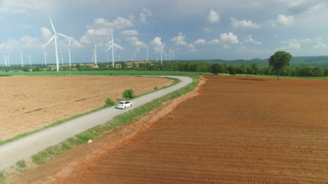 Aerial view of wind turbines in blue sky video