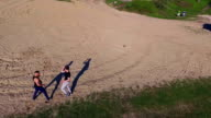 Aerial view of Wing Chun  on a sand video