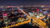 T/L WS HA PAN Aerial View of Wonderful City Scene and Traffic at Night / Beijing, China video