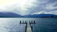 Aerial view of wooden pier on big lake in Te Anau, New Zealand. video