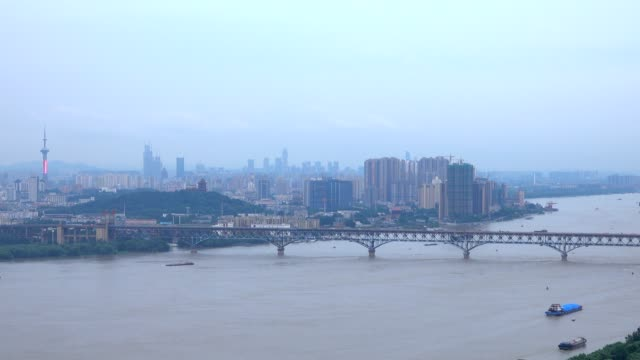 aerial view of yangtze river skyline in nanjing city,china ,cloudy day video