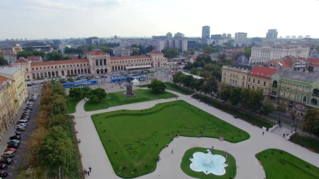 Aerial view of Zagreb, King Tomislav Square video
