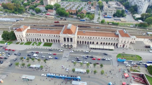 Aerial view of Zagreb main train station video