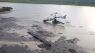 Aerial view on flooded bucket wheel excavator in Serbia 2014. video
