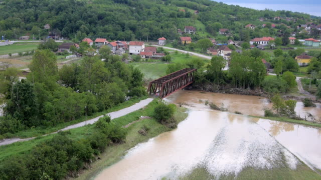 Aerial view on heavily flooded areas in Serbia 2014. video