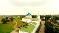 Aerial view on kremlin in the ancient town Suzdal, Golden ring, Russia video