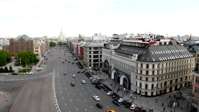 Aerial view on Lubyanka Square and Novaya Square, Moscow cityscape video
