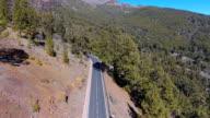Aerial view on road in East End of Teide National Park in Tenerife video