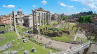 Aerial view on Roman Forum in Italy, tourists walking in ancient town, timelapse video