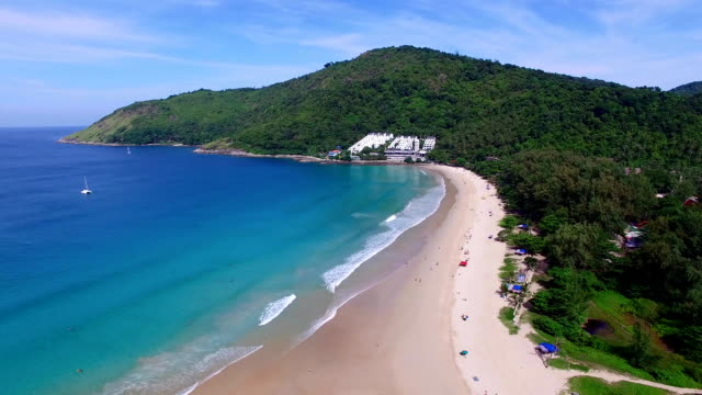 Aerial view on the beach. Nai Harn. Phuket. Thailand. video