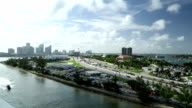 Aerial view on the Port of Miami highway video