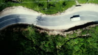 Aerial view on the road on tea plantation in Sri Lanka video