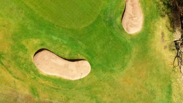 Aerial view over a golf course video