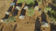 Aerial view over a small African Village video
