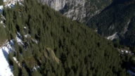 Aerial view over mountains and forest video