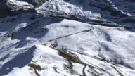 Aerial view over mountains and glaciers video