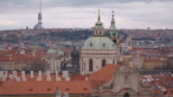 Aerial view over the city of Prague video