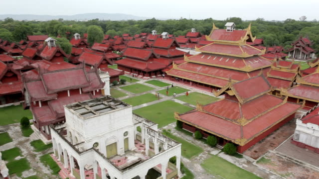Aerial view over the Mandalay Palace video