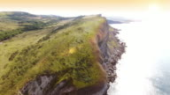 Aerial view past steep cliffs video