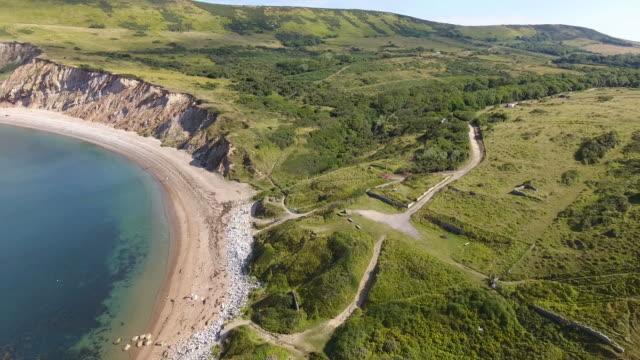 Aerial view past steep cliffs video
