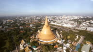 Aerial view Phra Pathommachedi is a stupa in Thailand. video