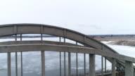 Aerial view. Railroad bridge and road video
