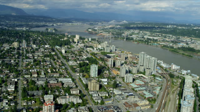 Aerial view residential suburbs New Westminster, Vancouver video