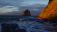 Aerial View Revealing Rocky Sea Cliffs Coastline with Amazing Sunrise Light in Pacific Northwest video