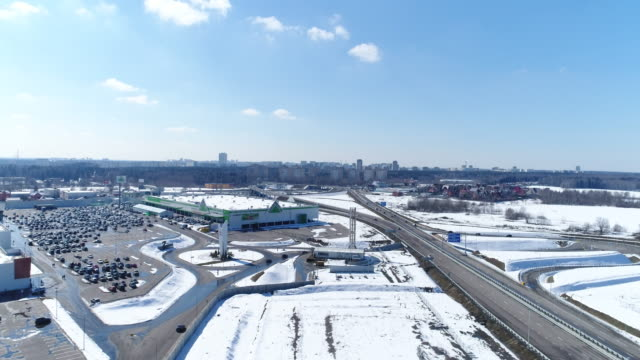 Aerial view road junction and parking video