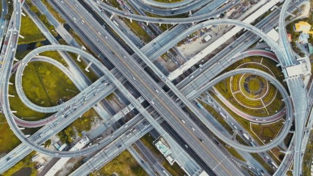 Aerial view road junction traffic highway video