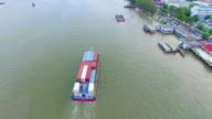 Aerial view shot of containers cargo ship on the river video