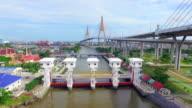 Aerial view shot of Floodgate,Bangkok video