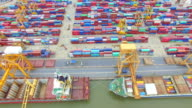 Aerial View Shot of Industrial port with containers ship video