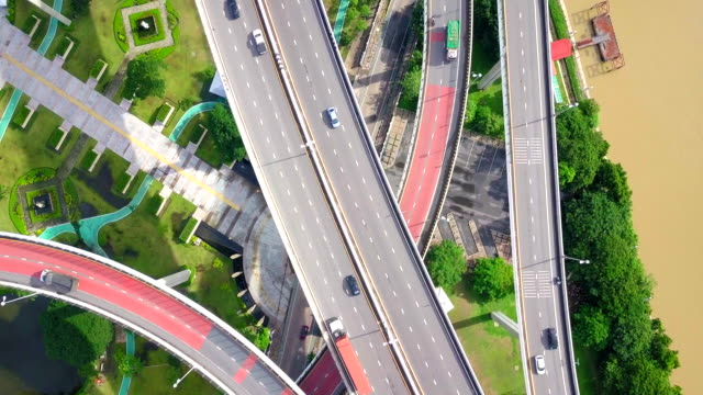 Aerial view shot of Traffic highway in Thailand video