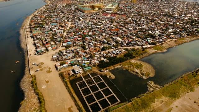 Aerial view slums of Manila, the poor district. Philippines, Manila video