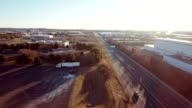 Aerial view sunrise morning highway traffic video