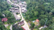 Aerial view thailand village countryside on mountain video