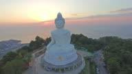 Aerial view the beautify Big Buddha in Phuket island. video