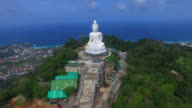Aerial view the beautify Big Buddha in Phuket island video