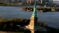 Aerial view the Statue of Liberty, NY, USA video