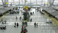 Aerial view Time Lapse of Crowd walking at Airport terminal video