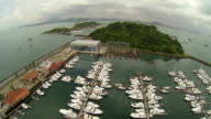 Aerial view to pier with yachts and boats from Causeway Amador, Panama City, Panama. video