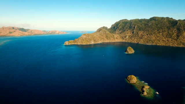 Aerial view tropical lagoon,sea, beach. Tropical island. Busuanga, Palawan, Philippines video