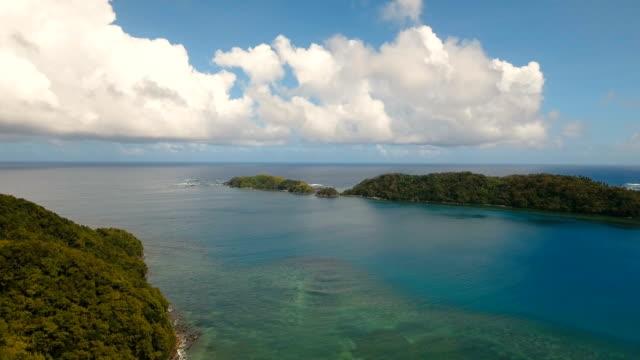 Aerial view tropical lagoon,sea, beach. Tropical island. Catanduanes, Philippines video